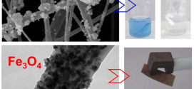 Poly(3-hydroxybutyrate)-based hybrid materials with photocatalytic and magnetic properties prepared by electrospinning and electrospraying