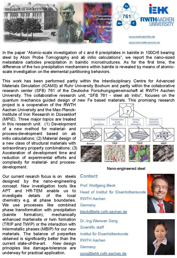 Atomic-scale investigation of epsllon and theta precipitates in bainite in 100Cr6 bearing steel by atom probe tomography and ab initio calculations