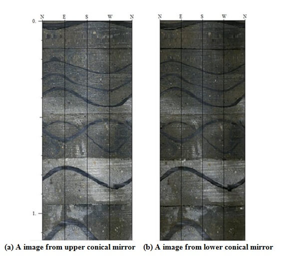 Figs. 5. The panoramic stereopair imaging of indoor borehole from a casting cement block - Advanced Engineering