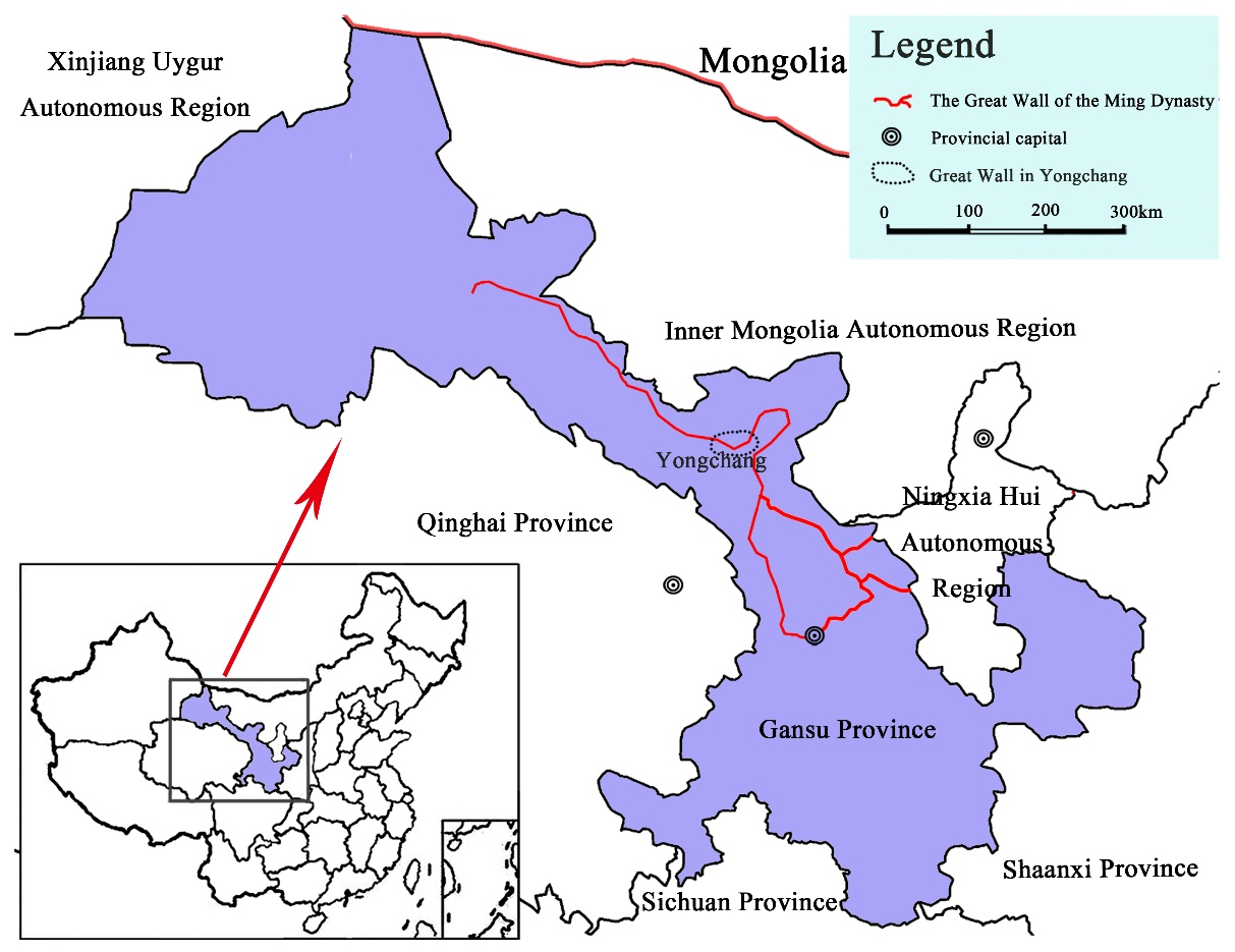 Location of the Great Wall of the Ming Dynasty in Gansu Province, China - Advanced Engineering